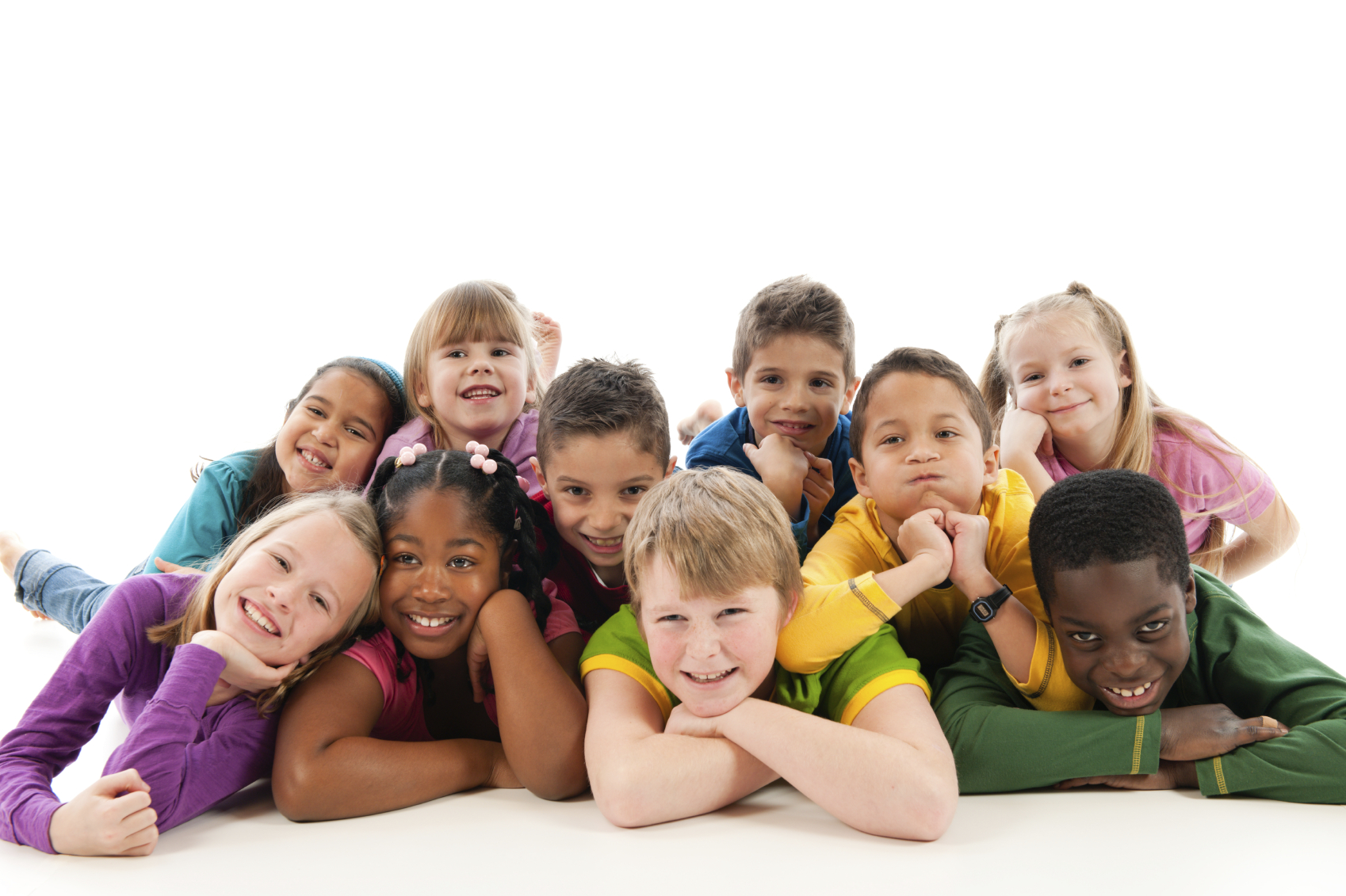 A group of very happy children on a white background.